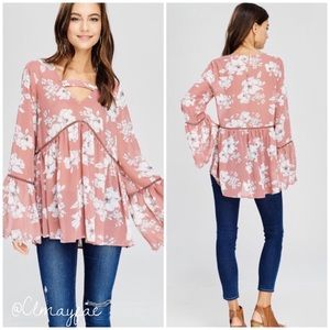 Tops - New Chiffon Bell Sleeve Top